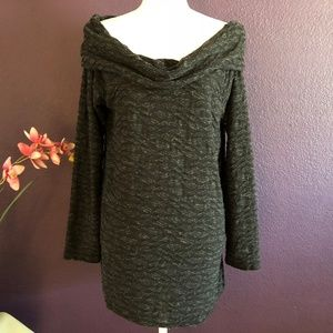 Two by Vince Camuto Cowl Neck Tunic Top Black L